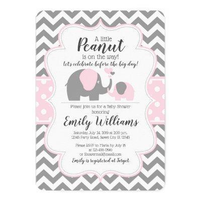 Girl baby shower invitation pink elephant theme