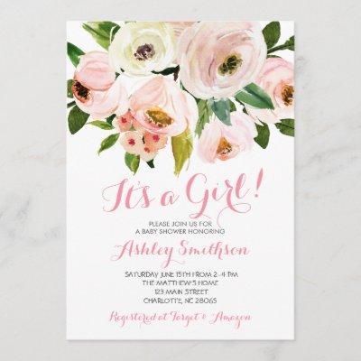 Girl Baby Shower Invitations, pink flowers Invitation