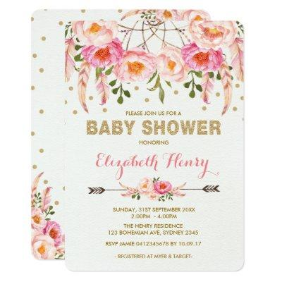 Girl Baby Shower Invite Pink Gold Boho Flowers
