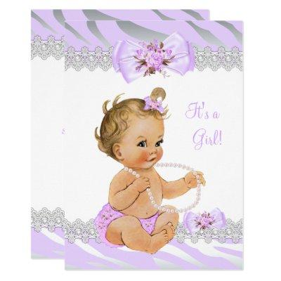 Girl Baby Shower Lilac Zebra Lace Blonde Invitation