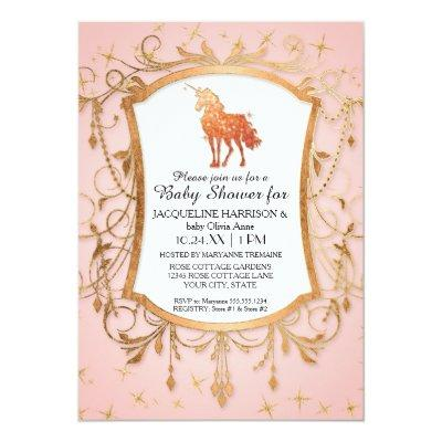 Girl Baby Shower Magical Unicorn Rose Gold Sparkle Invitations