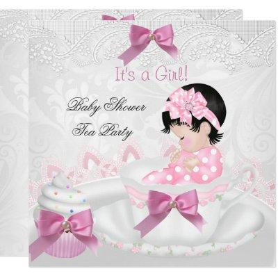 Girl Baby Shower Pink Baby Teacup Tea Party Invitation