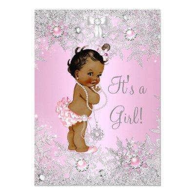 Girl Baby Shower Pink Winter WonderLand Ethnic Invitations