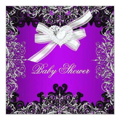 Girl Baby Shower Pretty Purple White Black Invitations