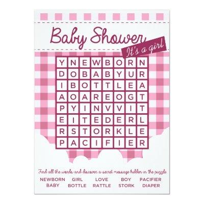 Girl Baby Shower Puzzle Invitations