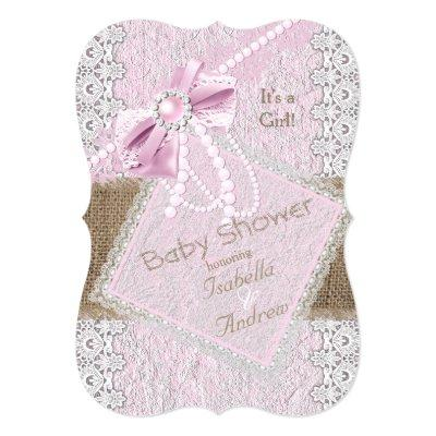 Girl Rustic Pink Bow Pearl Lace 2 Invitations