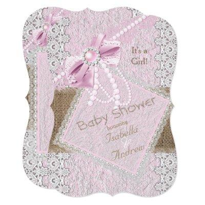Girl Baby Shower Rustic Pink Bow Pearl Lace 2 Invitations