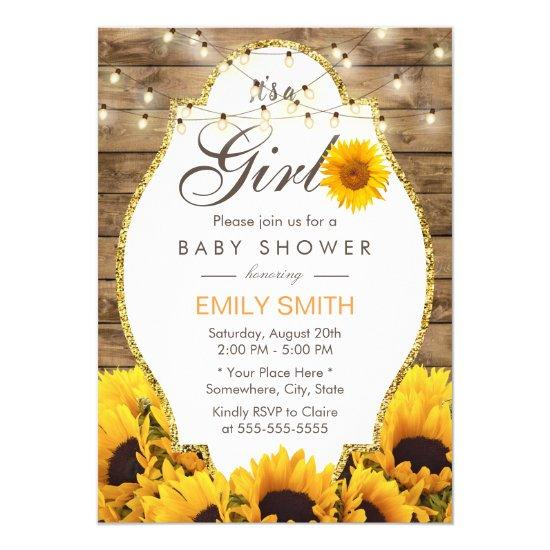 Girl Baby Shower Rustic Sunflowers String Lights Card
