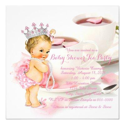 Girl Baby Shower Tea Party Rose Petal Tea Cup Invitation