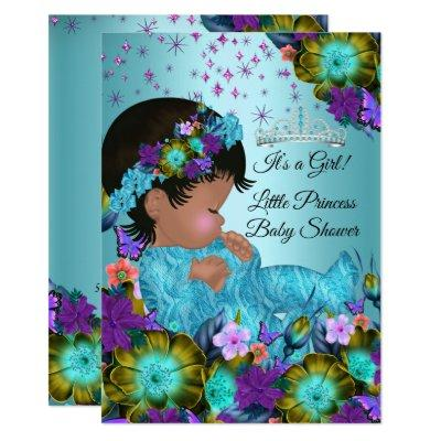 Girl Baby Shower Teal Blue Purple Floral Ethnic Invitation