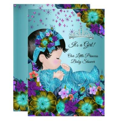 Girl Baby Shower Teal Blue Purple Floral Invitation