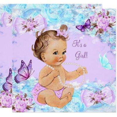 Girl Baby Shower Teal Purple Butterfly Brunette Invitations