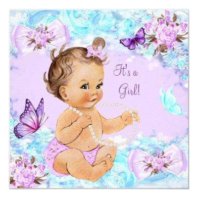 Girl Baby Shower Teal Purple Butterfly Brunette Invitations