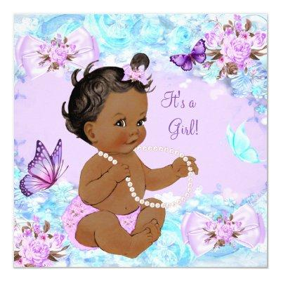 Girl Baby Shower Teal Purple Butterfly Ethnic Invitations