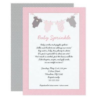 Girl baby sprinkle clothesline Invitations