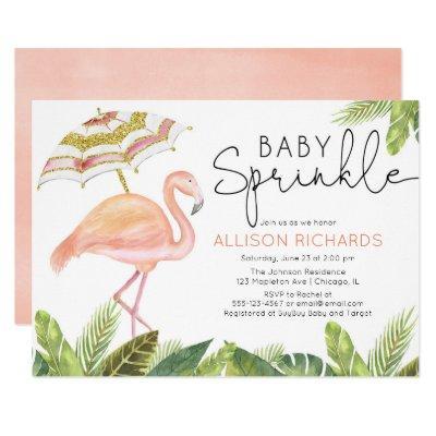 Girl baby sprinkle flamingo pink gold shower invitation