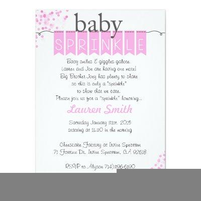 Girl Baby Sprinkle Invitations -Pink Baby Sprinkl