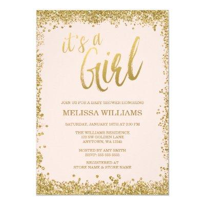 Girl Blush Pink Faux Gold Glitter Baby Shower Invitations