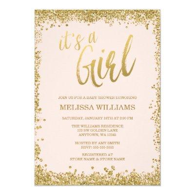 Girl Blush Pink Faux Gold Glitter Baby Shower Invitation