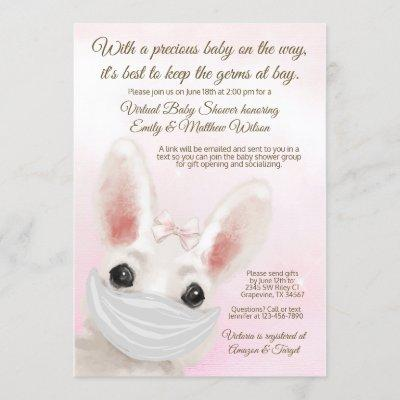 Girl Bunny Rabbit Mask Drive By Online Baby Shower Invitation