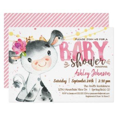 Girl Cow Baby Shower invitation, Pink Farm Invitation