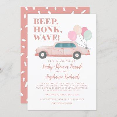 Girl Drive By Baby Shower Pink Vintage Car Invitation