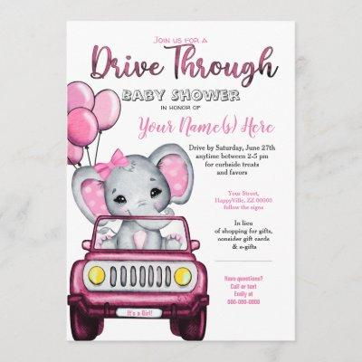 Girl Drive Through Baby Shower Elephant in Car Invitation