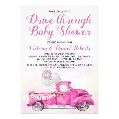 Girl Drive Through Baby Shower Invitation
