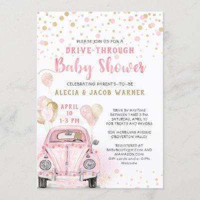 Girl Drive Through Baby Shower Pink Gold Car Invitation