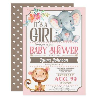 Girl Elephant and Monkey Baby Shower Invitations