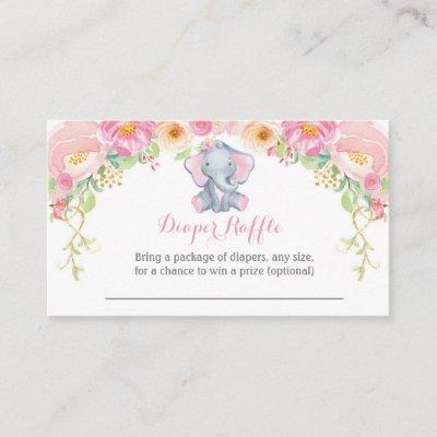 Girl Elephant Baby Shower Diaper Raffle Card