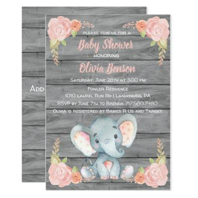 Girl Elephant Baby Shower Invitations