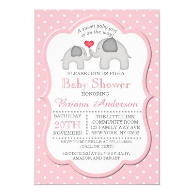 Girl Elephant Baby Shower Invitation Pink Girly