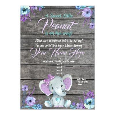 Girl Elephant Baby Shower Invitations, rustic, teal Invitations