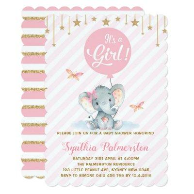 Girl Elephant Baby Shower Pink Gold Star Invite