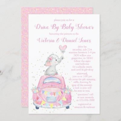 Girl Elephant Car Drive By Baby Shower Invitation