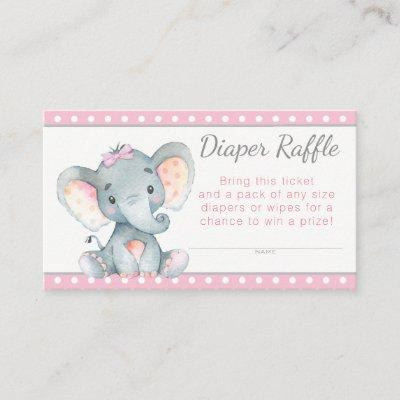 Girl Elephant Diaper Raffle Tickets Enclosure Invitations