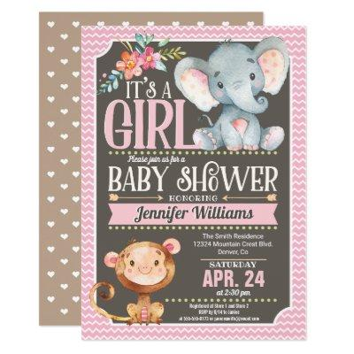 Girl Elephant & Monkey Baby Shower Invitations