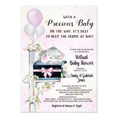 Girl Elephant Virtual Baby Shower By Mail Invitation