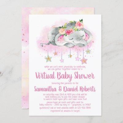 Girl Elephant Virtual Baby Shower Invitation