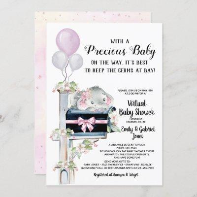 Girl Elephant Virtual Online Video Baby Shower Invitation