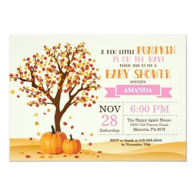 Girl Fall Baby Shower Invitations Card Trees Leaves
