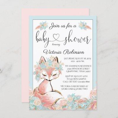 Girl Fox Pink Teal Gold Watercolor Baby Shower Invitation