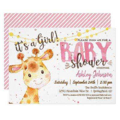 Girl Giraffe Baby Shower invitation