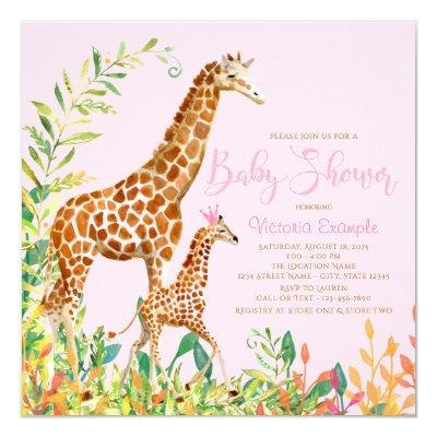 Girl Giraffe Baby Shower Invitations