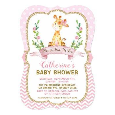 Girl Giraffe Baby Shower Pink & Gold Invitations
