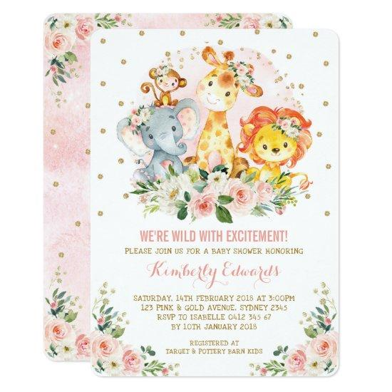 Girl Jungle Baby Shower Blush Pink Gold Floral Invitation