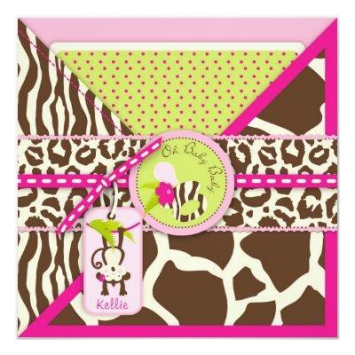 Girl Jungle Monkey Safari Baby Shower Invitation