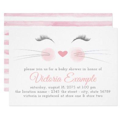 Girl Kitten Face Watercolor Baby Shower Invitation