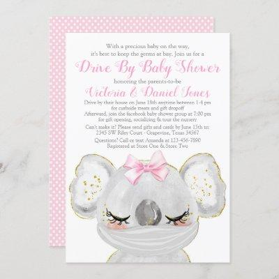 Girl Koala with Mask Drive By Baby Shower Invitation